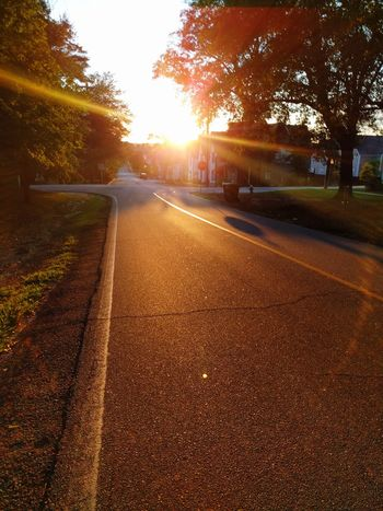 EyeEmNewHere Sunset No People Outdoors Nature Tree Sun First Eyeem Photo Nexus 6P Sommergefühle Empty Roads Sunlight Peaceful Spaces Tranquility Sunset Over The Street Shadows And Sunlight Sky
