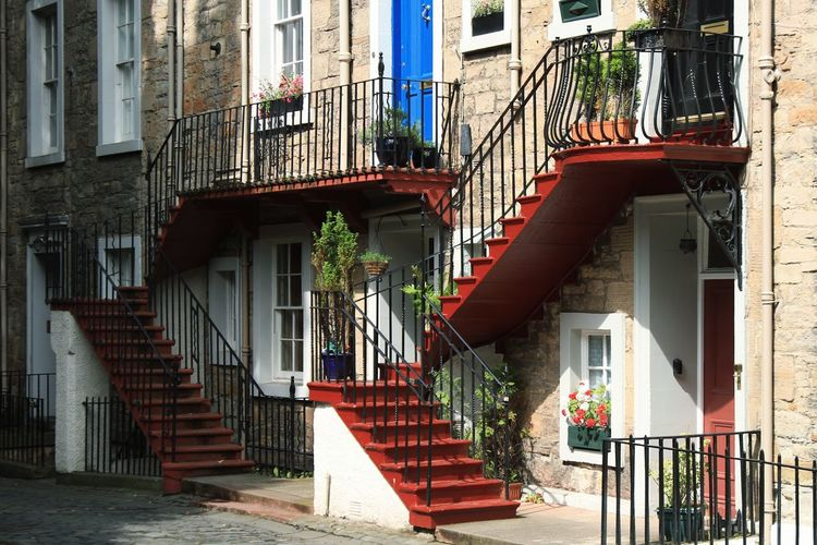 Edinburgh, Scotland Steps And Staircases Staircase Steps Building Exterior Railing Spiral Staircase No People House City Architecture Cityscape City Street Travel Photography Travel Traveling The World Vacations Built Structure Citylife Castle Light And Shadow History Tourism An Eye For Travel