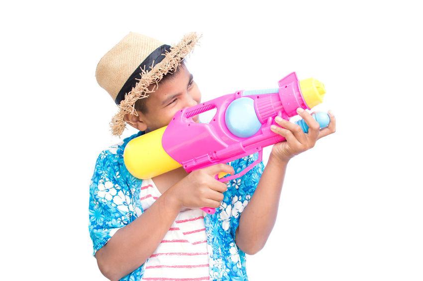 Fun Happiness Holiday Joyful Songkran Festival Thailand Boy Holding One Person Summer Water Gun White Background