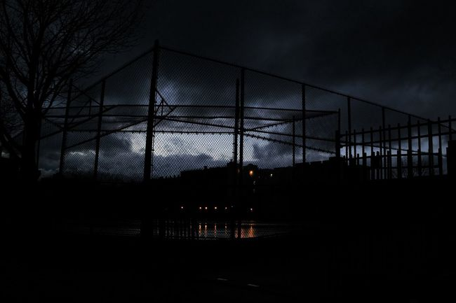 bed stuy brooklyn Architecture Built Structure Chainlink Fence Fence Light Metal Night Photography Outdoors Pattern Silhouette Storm Clouds Gathering Urban Landscape