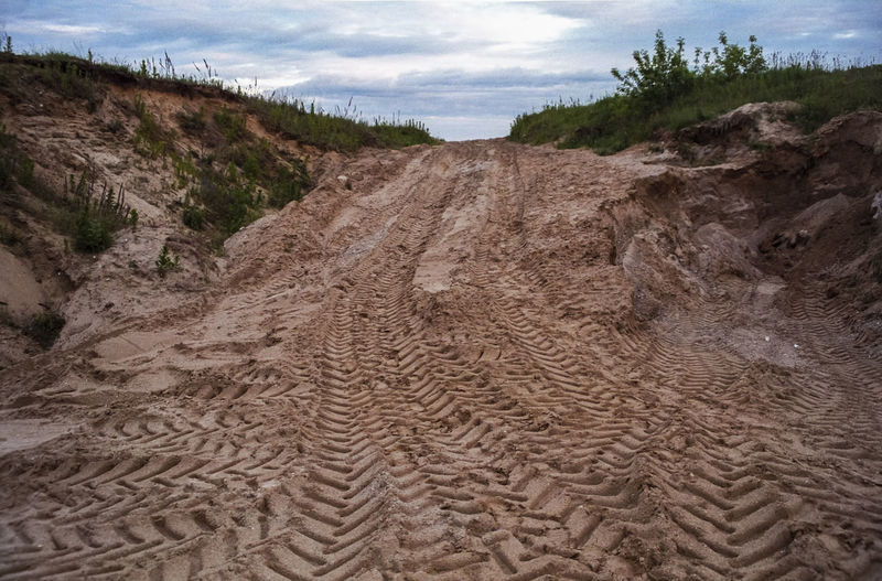 No People Outdoors Road Sand Sand Dune Traces Of Tires Way Forward Way Forward Transportation