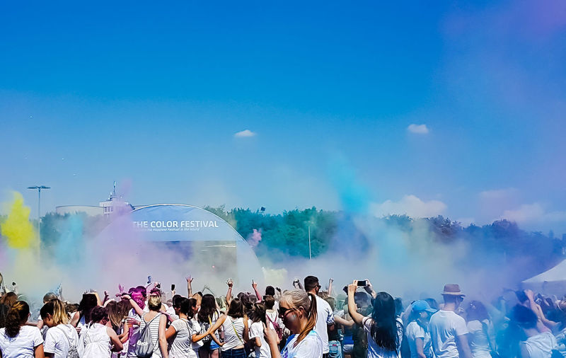 Holi Festival Frankfurt am Main 2018 Powder Fun colour of life Colorsplash Colourpop Sunshine EyeEmNewHere EyeEm Happiness Live Authentic Party EyeEm Best Shots Scenics Frommypointofview Amazing View Live Authentic Live Moments EyeEm Selects Focus On Details Popular Music Concert Crowd Audience City Water Fan - Enthusiast Men Togetherness Women Entertainment Event Holi Talcum Powder Live Event Powder Paint Festival Goer Traditional Festival