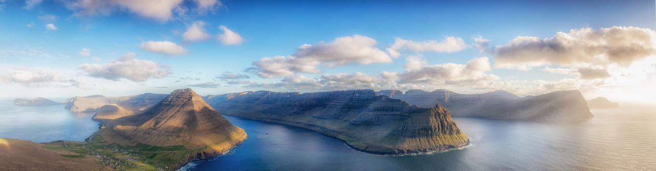 Panorama of the villageViðareiði, Faroe Islands Panorama Viðareiði Beauty In Nature Cloud - Sky Environment Faroe Islands Idyllic Lagoon Landscape Mountain Mountain Range Nature No People Outdoors Panoramic Scenics - Nature Sea Seascape Sky Tranquil Scene Tranquility Travel Travel Destinations Villingardalsfjall Water