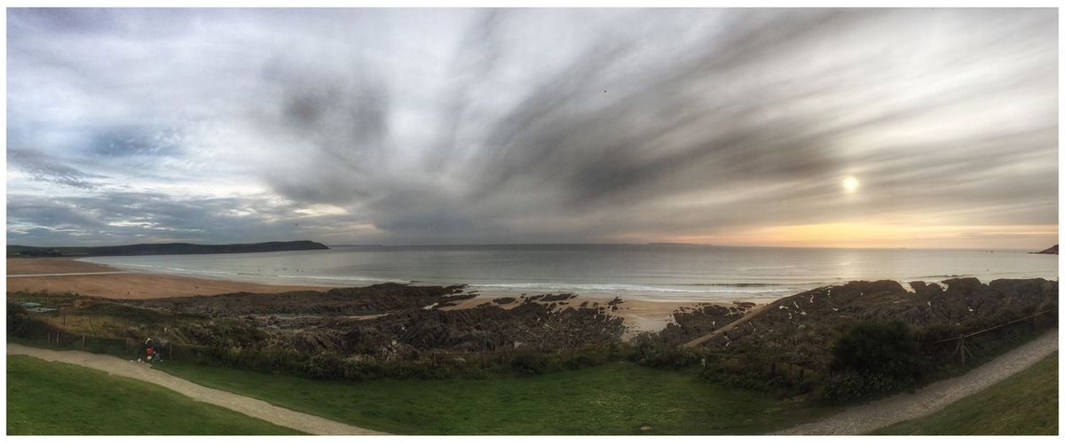 Woolacombe, Devon Panorama Sea Sky Horizon Over Water Cloud - Sky Scenics Nature Beauty In Nature Tranquil Scene Beach Water Tranquility Landscape Outdoors Grass Storm Cloud Vacations Sunset Day One Person People The Week On EyeEm Eye4photography  EyeEm Gallery