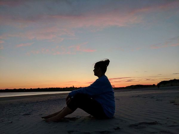 Sunset Beach Sand Sky Sihlouette One Person Sitting Outdoors Young Women