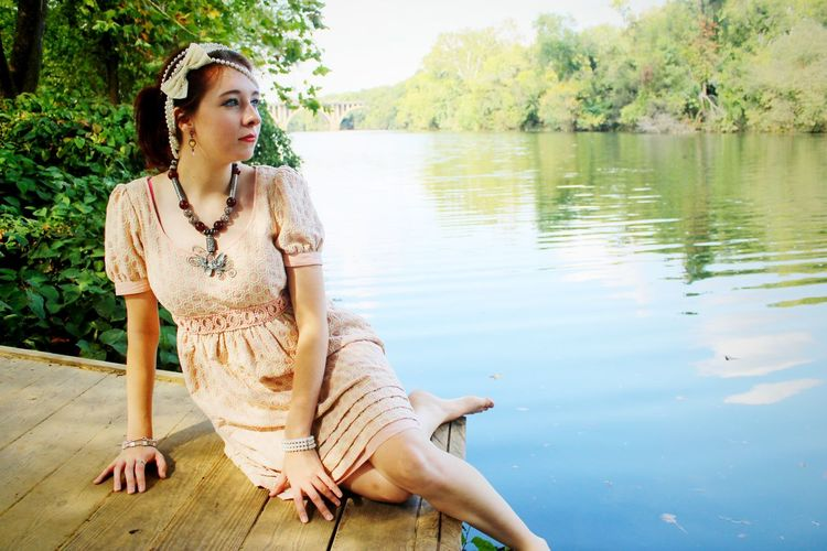 Gen By the Lake Beauty In Nature Casual Clothing Day Lake Leisure Activity Lifestyles Nature Outdoors Portrait Relaxation Rippled Tranquil Scene Tranquility Tree Water