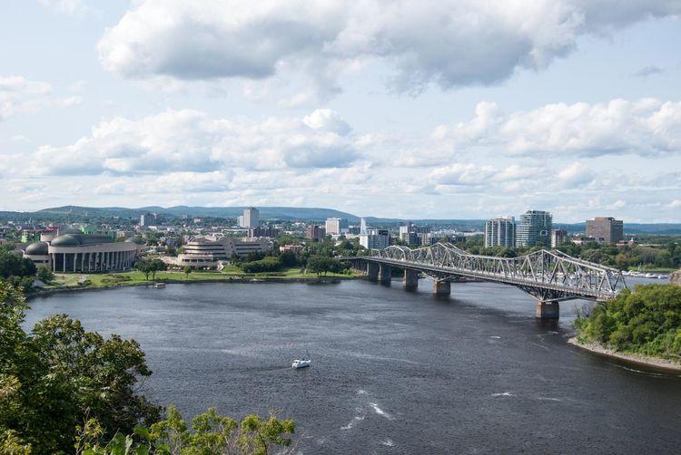 Gatineau, Quebec Ottawa Bridge - Man Made Structure Chain Bridge City Cityscape Connection Nature No People Outdoors Transportation Tree