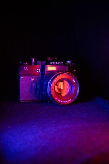 Close-up of illuminated camera
