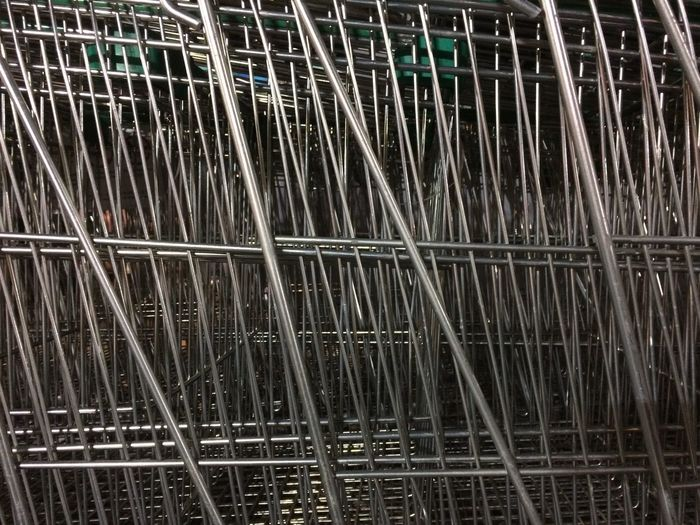 Shopping Cart Metal No People Close-up Large Group Of Objects Day Industry Backgrounds Full Frame Iron - Metal Alloy Steel Repetition
