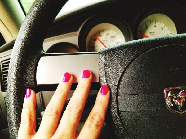 EyeEm Selects Indoors  Close-up Red Day Nails Manicure! Manicures Steering Wheel Dodge Magnum Dodge