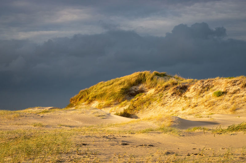 Scenic view of north swan dunes against sky