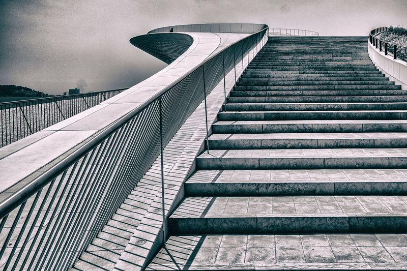 Stairs @ Lissabon Steps Staircase Steps And Staircases Architecture Built Structure Railing No People Day Outdoors Building Exterior Sky City Lissabon Bellem Portugal Architecture Modern Museum