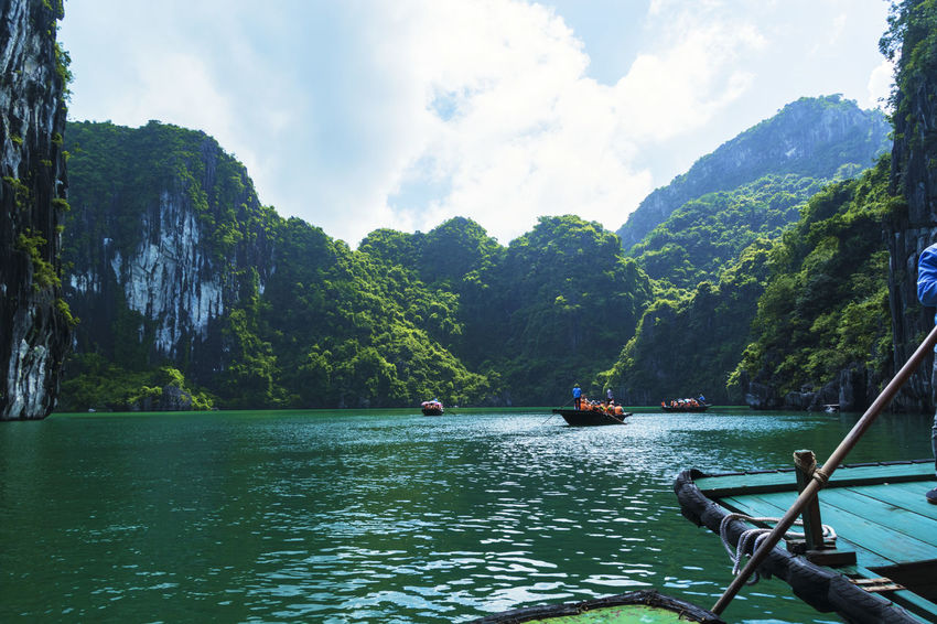 Beauty In Nature Cloud - Sky Day Green Color Mode Of Transport Mountain Nature Nautical Vessel No People Outdoors River Sailing Scenics Sky Tranquil Scene Tranquility Transportation Tree Vietnam Halong Bay Water