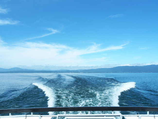 Scenery of beautiful Biwa lake seen from ship (船から見た綺麗な琵琶湖の風景) Ad Beautiful Biwa Lake Blue Color Copy Space Daytime Green Nature Quiet Wave Black Color Blue Sky Boat Brown Lake Landscape Margin No Person Nobody Silence Sky Text Space Water White 琵琶湖
