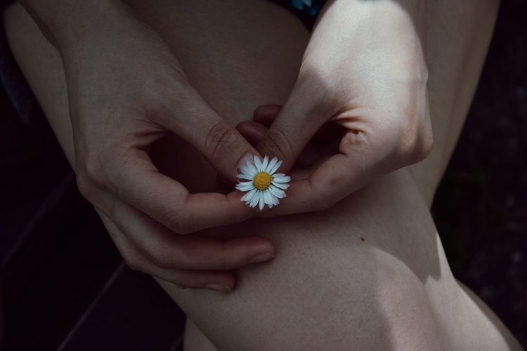 Midsection of woman holding small white flower