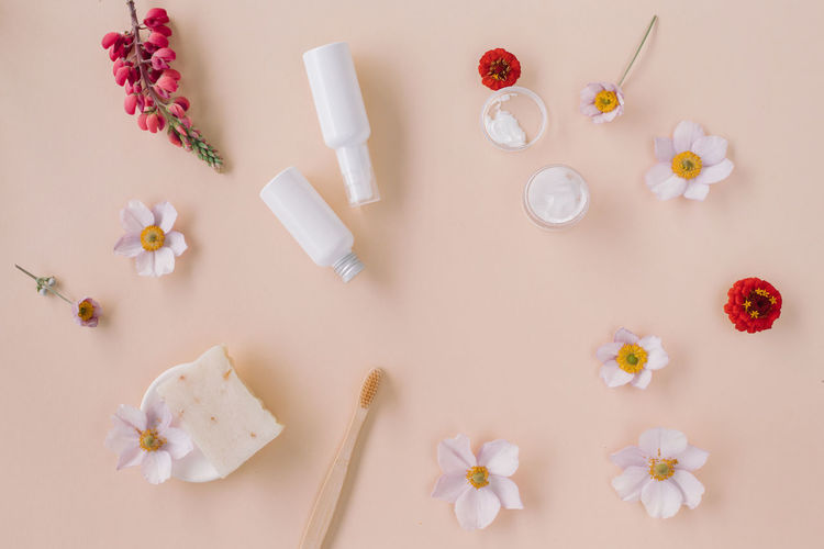 High angle view of white flowers on table