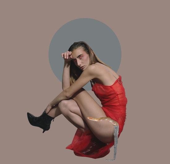 Studio Shot Young Women Beauty Fashion Women Portrait Red Clothing Cover Magazine