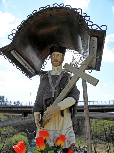 Rastoke,'John's Bridge',John of Nepomuk,martyr,Croatia,EU Art Craftmanship Day Eu Ivanov Most John Of Nepomuk John's Bridge Landmark Martyr Outdoors Rastoke, Croatia Religion Saint Sculpture
