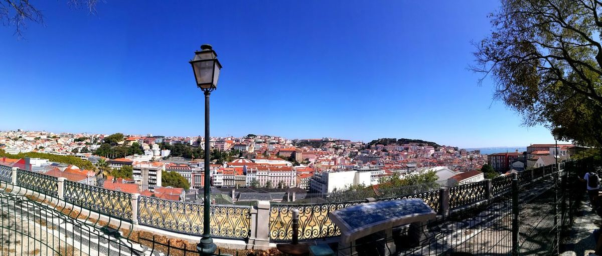 Panoramic view across rooftops of lisbon with streetlight and tree