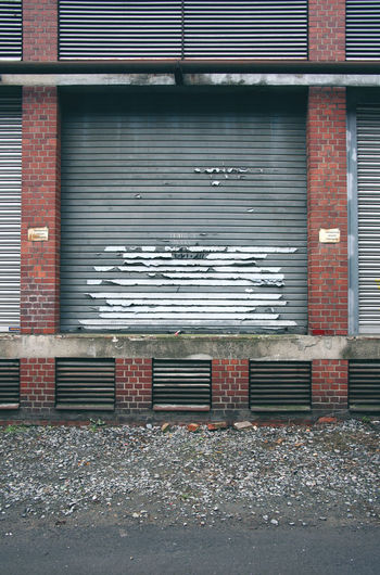 Closed shutter of building