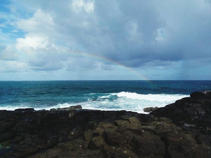 Mauritius Paradise Rainbow🌈 Waves Crashing Happy Sunday ☀