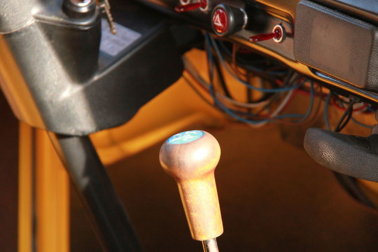 Close-up of gearshift in vehicle
