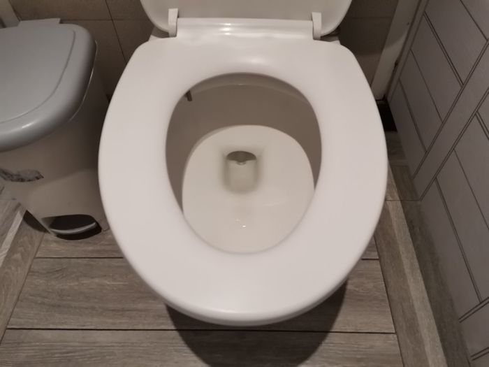 High angle view of toilet bowl on table