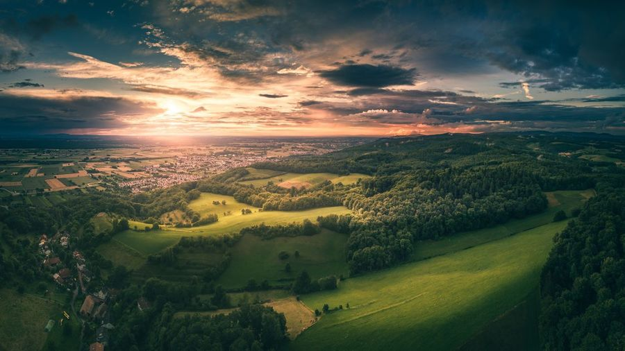 Sky Beauty In Nature Tranquil Scene Scenics Sunset Cloud - Sky Nature Landscape Aerial View Tranquility Rural Scene Outdoors No People Tree Agriculture Panoramic Day Flying