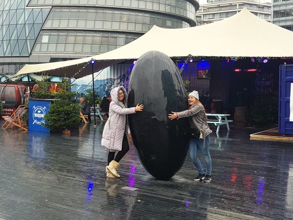 we found the XL Egg !!!! Wet Adult Two People Togetherness Young Women Architecture Outdoors City Young Adult Beauty Is Everywhere  City Life London