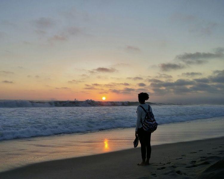 Enjoying the sunset! Being A Beach Bum Enjoying The Sun Silhouette Enjoying The Sunset Rule Of Thirds Being A Tourist Life Is A Beach Beach Sunset Enjoying Life