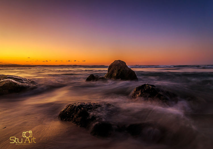 High tide at Snapper Rocks Surf Photography EyeEm Best Shots - Sunsets + Sunrise Sunset #sun #clouds #skylovers #sky #nature #beautifulinnature #naturalbeauty #photography #landscape Canonphotography Gold Coast Australia Gold Coast Water_collection Long Exposure Queensland Rock