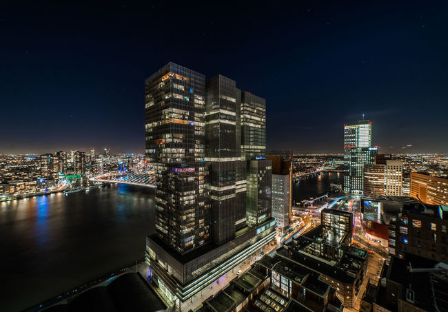 DeRotterdam and city of Rotterdam at night Architecture Rotterdam Architecture Building Building Exterior Built Structure City Cityscape Derotterdam Illuminated Modern Night Urban Skyline Windows The Architect - 2018 EyeEm Awards