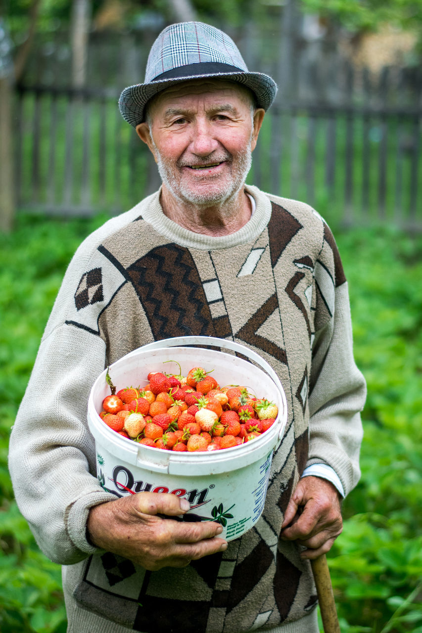 Portrait Of Senior Man With Strawberries In Bucket At Farm