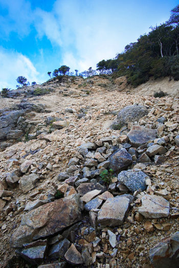 Surface level of rocks on land against sky