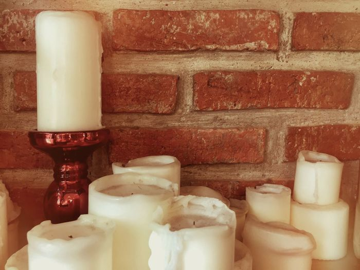 Wall - Building Feature No People Indoors  Wall Still Life Brick Candle Brick Wall White Color Close-up