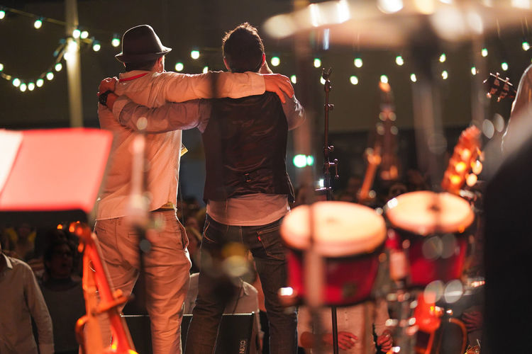 Rear view of men at music concert