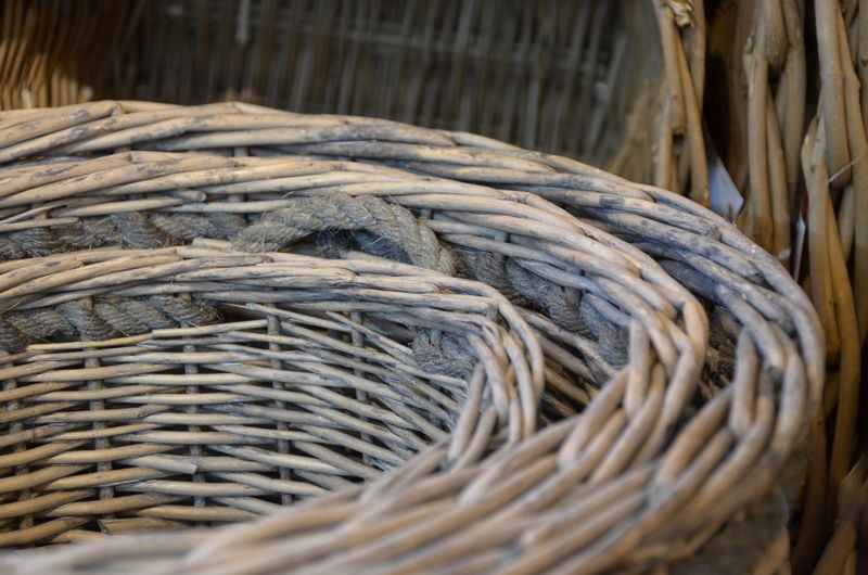 Close-up of whicker baskets