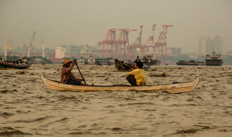 boat with Yangon river People Outdoors Mode Of Transport Transportation Photojournalism