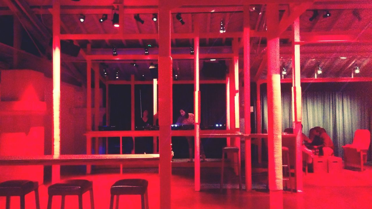 red, indoors, illuminated, real people, night, architecture, men, people