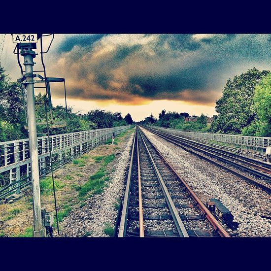 Railroad Track Transportation Rail Transportation Outdoors Sky Cloud - Sky No People The Way Forward Day Nature Let's Go. Together.