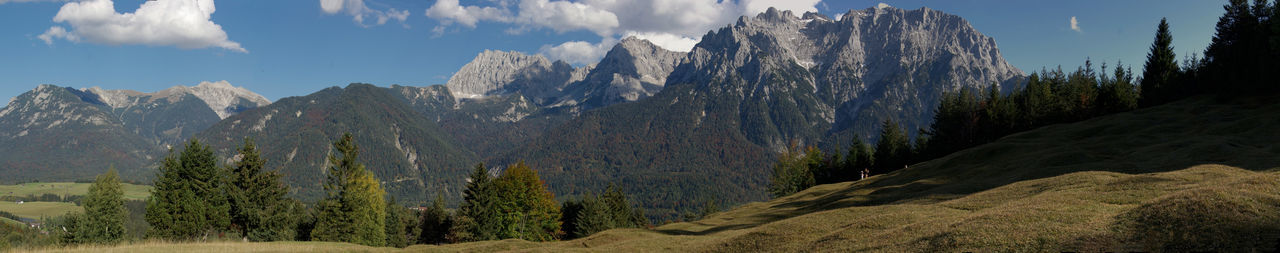 Panoramic view of mountains and landscape