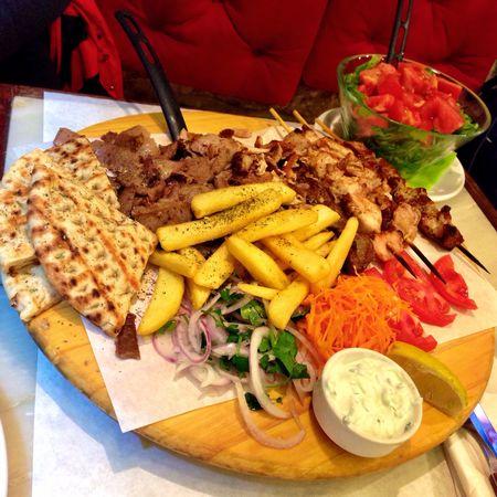Mixed gyros platter with salad... #tbexathens