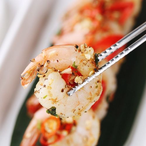 Food Seafood Close-up Freshness Food And Drink Spicy Grilled Shrimp with chili and garlic