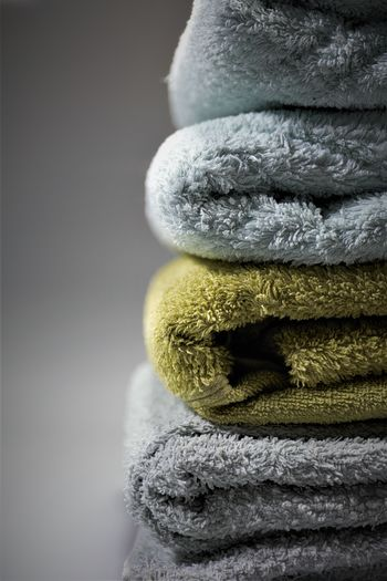 Close-up of towels stack