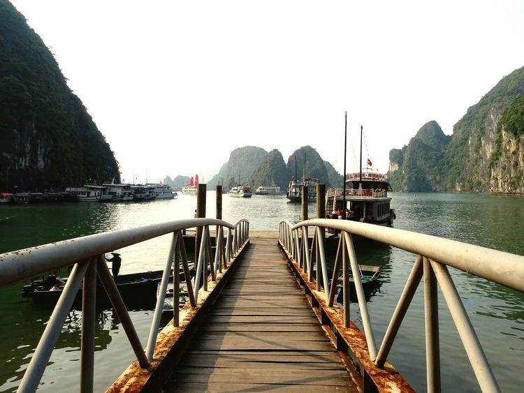 On point // Enjoying Life Stopping By Vietnam Halongbay Creek BestScenery Boats Pier Nature Hello World