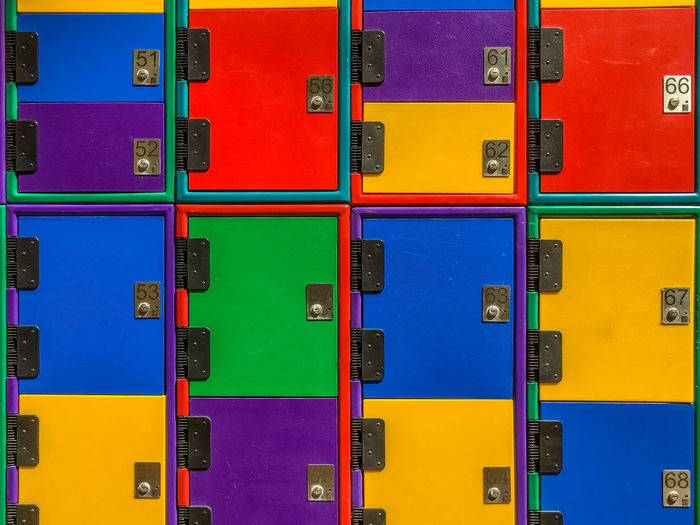 Full Frame Backgrounds Multi Colored No People Variation Large Group Of Objects Side By Side In A Row Repetition Close-up Pattern Stack Locker Closed Colors Colorful Arrangement Blue Yellow