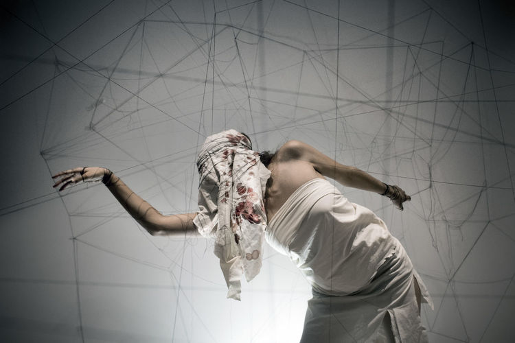 Woman trapped in thread