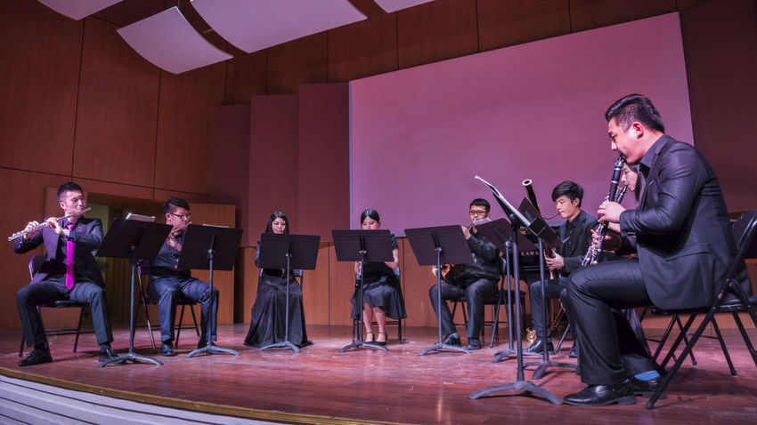 Entertainment Indoors  Lifestyles Lighting Literature And Art Music Musician People Performance Show Performance Space Performances Performing Arts Event Play Stage Stage Togetherness Woodwind Instruments Young Men Beautiful Ensemble Performance Young Women