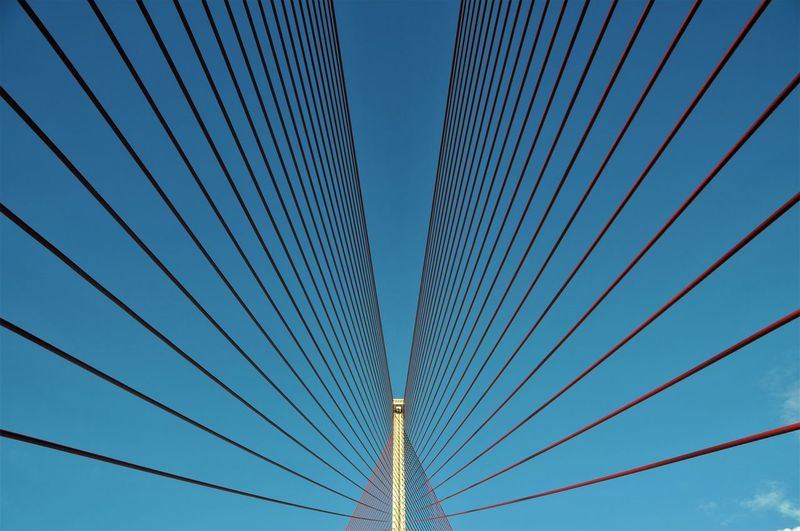 Blue Color Talavera De La Reina Bridge Cable-stayed Bridge Day España Low Angle View No People Puente De Castilla La Mancha Red Color