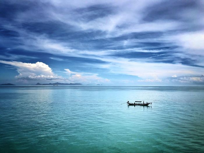 Lonely in the ocean Cloud - Sky Sky Water Beauty In Nature Scenics - Nature Transportation Sea Blue Nature Waterfront No People Outdoors Horizon Over Water
